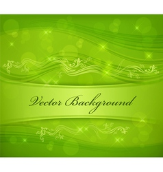 Floral background in green color text for design vector