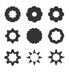 Set of black geometric flowers stars and sun vector