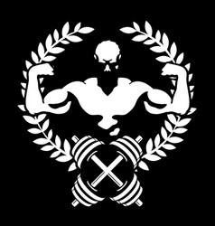 Athlete with muscles symbol for the gym vector