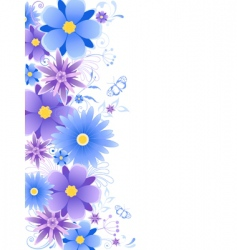 floral background with blue flowers vector image