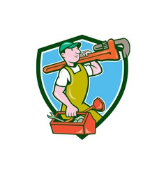 Plumber carrying monkey wrench toolbox crest vector