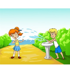Kids play with water in summer day vector
