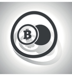 Bitcoin coin sign sticker curved vector