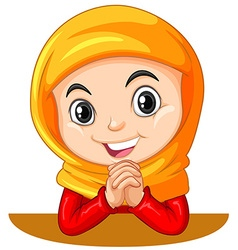 Muslim girl with head scarf praying vector