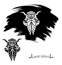 Stylized decorative goat mask tattoo silhouette vector