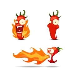 Set of the hot chili peppers in cartoon style - vector