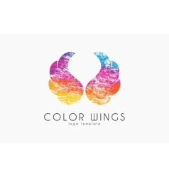 Color ginws logo wings in grunge style creative vector