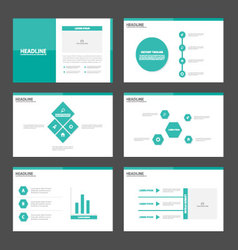 Green tone presentation templates infographic set vector