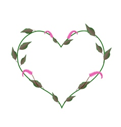 Red amaranth leaves in a heart shape vector