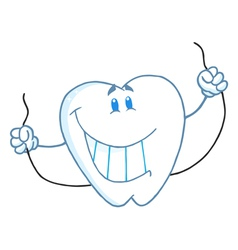 Dental tooth character holding floss vector