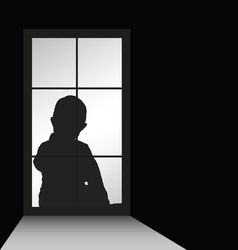 Child with window silhouette vector