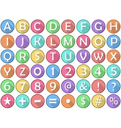 Alphabet numbers symbols flat round icons vector