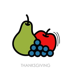 Apple grapes and pear icon harvest thanksgiving vector