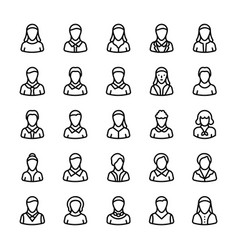 avatars line icons 1 vector image vector image