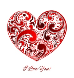 Big red heart made of curls vector image
