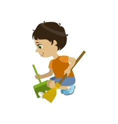 Boy doing a garden clean up vector