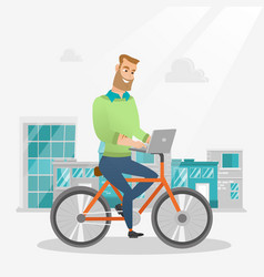 Businessman riding a bicycle with a laptop vector