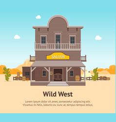 cartoon building saloon on a landscape background vector image vector image