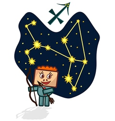 Cartoon Zodiac Sagittarius with a rectangular face vector image
