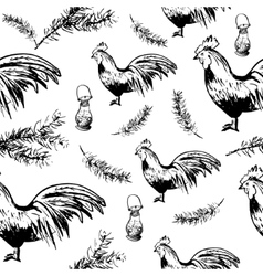 Christmas cock pattern vector image vector image