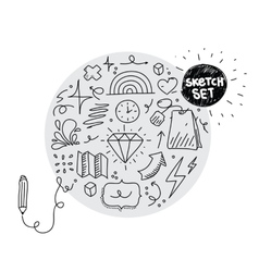 Circle sketch set Hand drawn elements vector image
