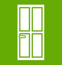 closed wooden door icon green vector image vector image