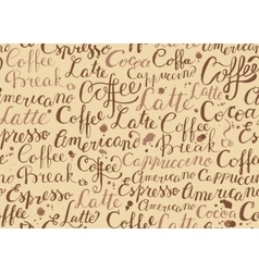Coffee seamless pattern with coffee words in retro vector image vector image