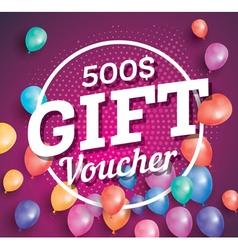 Gift Voucher on purple background vector image vector image