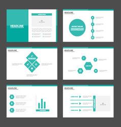 Green tone presentation templates infographic set vector