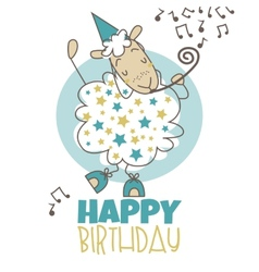 Happy birthday sheep vector image vector image