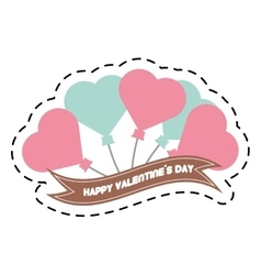 Happy valentine day card balloons heart and ribbon vector