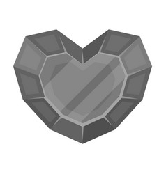 Heart-shaped gemstone icon in monochrome style vector