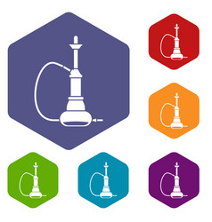 hookah icons set hexagon vector image vector image