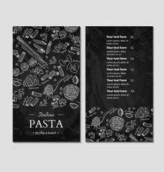 italian pasta restaurant menu hand drawn vector image vector image