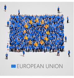 Large group of people in the shape of european vector