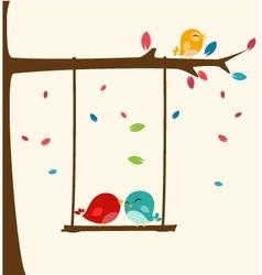 Love tree with happy birds vector