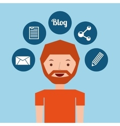 Man bearded standing with social network icon vector