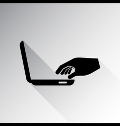 Man hand on laptop keyboard vector image