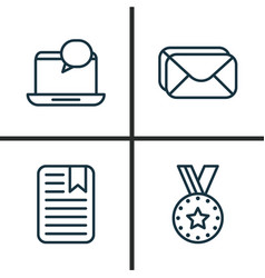 Network icons set collection of medal note page vector