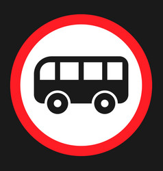 No bus prohibition sign flat icon vector