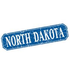 north dakota blue square grunge retro style sign vector image vector image