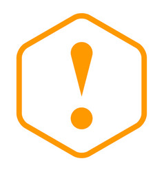 orange sexangle exclamation mark icon warning sign vector image vector image