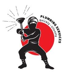 plumber ninja vector image vector image