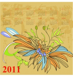 retro stylized calendar for 2011 vector image