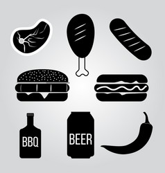 Set of barbecue and grill elements vector