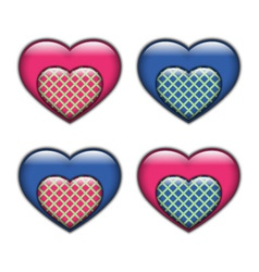 Set of hearts on a white background vector image vector image