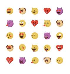 Set of love emoticon vector
