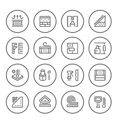 Set round line icons of insulation vector