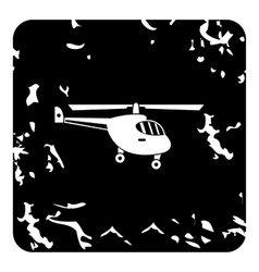 Small helicopter icon grunge style vector