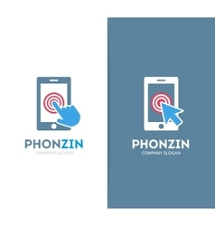smart phone and click logo combination vector image
